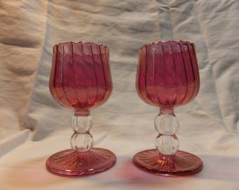Beautiful Cranberry Glass Cordials, Small Pedestal Cranberry Glass