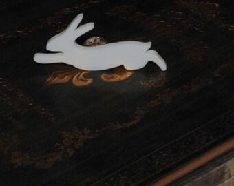 Run Rabbit Run, White Rabbit Animal Badge
