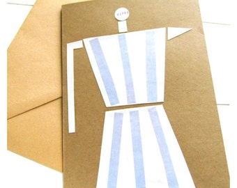 "Greeting card ""cafetiera"", greeting card with envelope, handmade cards, coffeelove"