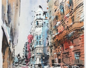 Watercolor high quality print small format watercolor barcelona streets barcelona art streets of Barcelona