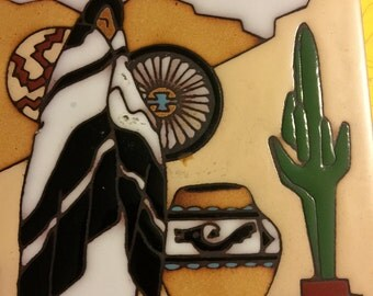 1990 Earthiness Southwestern Kiln Fired Hand Glazed  Wall Hanging Art Table Trivet Boho Cowboy Western Ceramic Tile