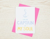 Flat Note Cards Set with Envelope - I am the Captain of My Soul