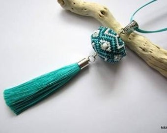 Jewellery, Crochet Beaded Necklace with tassel standard length Gift Box