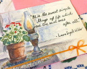 Simple things - hand painted greeting card