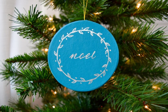 Noel Wreath Ornament, Hand-Painted / Turquoise and Silver / Christmas Ornament