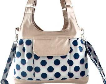 Iris bag, bag, handbag, shoulder bag, convertible bag, rose gold and blue, blue and pink, blue bag,