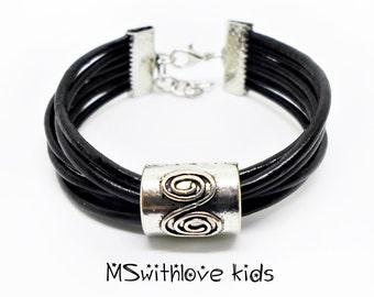 Black Leather Kids Bracelet, Bohemian Girls Bracelet, Children Black Bracelet, Leather Kids Jewelry, Hippie Children Bracelet
