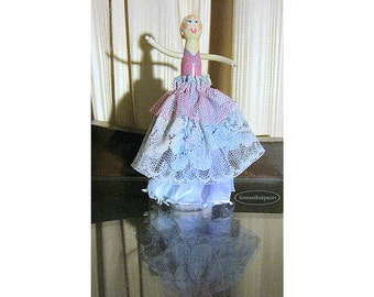 Peg Doll, Hand painted, Pink and Teal Lady, clothespin doll, haute couture, wood satin lace, acrylic paint, miniature doll, art doll
