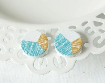 Autumn colors patterns wooden earrings D63