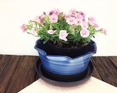 blue ceramic planter, lar...