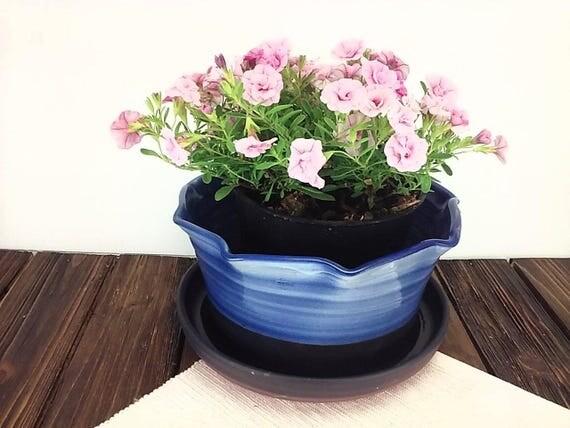 Blue Ceramic Planter Large Flower Pot Terracotta Pottery