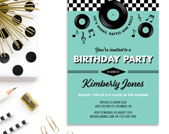 1950s Retro Birthday Invitation, 1950s Birthday, Fifties Birthday, Rock n Roll birthday, Music Themed Party-Printable or Printed Invitations