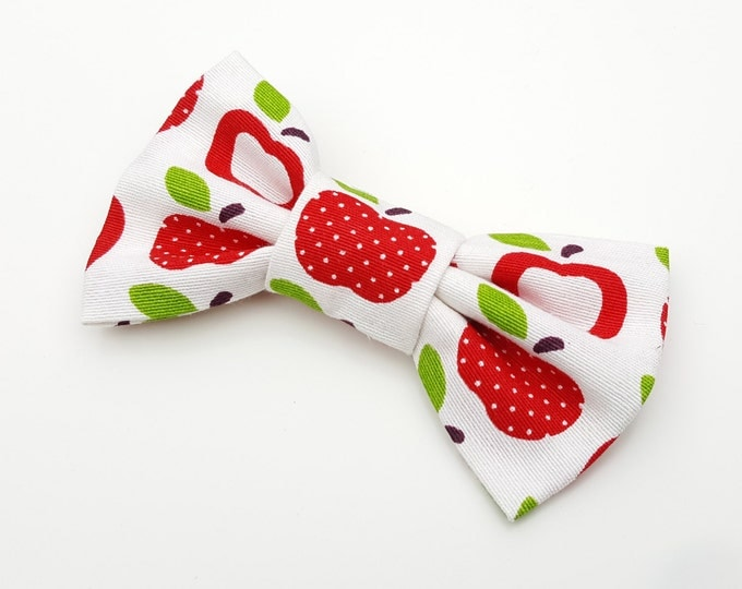 Dog Bow Tie - red and white apple