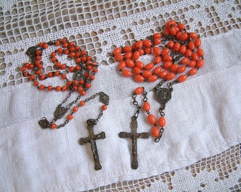 Set of 2 Antique French coral color glass bead rosaries. Coral color rosary. Orange rosary. Jeanne d'Arc living. Nordic living.