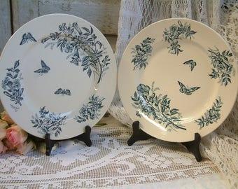 Antique french teal transferware round serving platter. Teal transferware. Jasmine.Butterflies. Blue green transferware. Jeanne d'Arc living