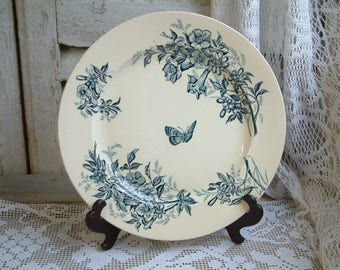 Antique french teal transferware round serving platter. Teal transferware. Jasmine. Butterflies. Blue green transferware. Butterfly garden