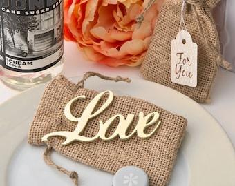 Gold Love Bottle Opener with Burlap Bag, Bottle Openers, LOVE Favors, Wedding Favors, Bottle Opener Party Favor (4242)