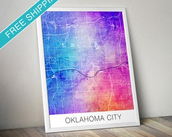 Oklahoma City Map Print - Map Art Poster with Watercolor Background