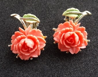 Vintage Rose Clip Earrings- Salmon Pink and White Available
