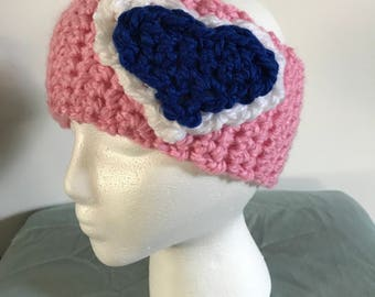 Crocheted Double Heart Headwrap
