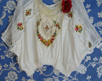 Stunning White Cotton Lace Upcycled Boho Oversized Loose Vintage Cream Embroidered Top