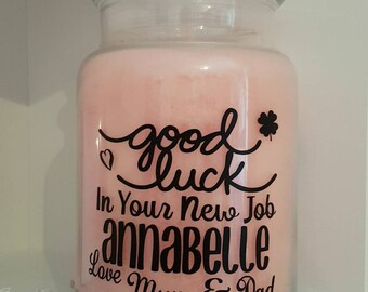 Personalised Sticker Label for Candle Jar Good Luck In Your New Job/Promotion Gift Idea Present Daughter Granddaughter Niece Sister Yankee