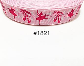 "3 or 5 yard - 7/8"" Ballerina Dance Ballet Pink Grosgrain Ribbon Hair  bow"