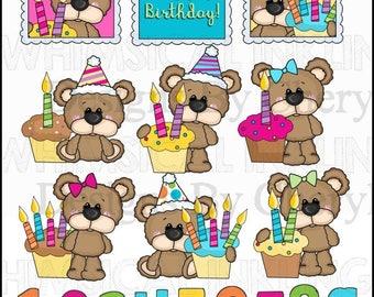 DIGITAL SCRAPBOOKING CLIPART - Big Eye Bear - Birthday