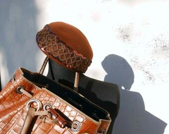 Brown Wool Vintage hat 60s made in Italy OOAK