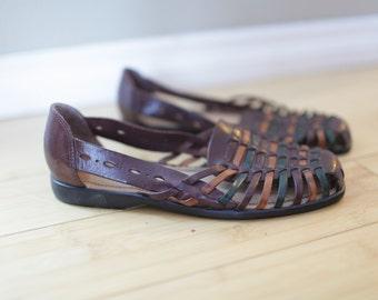 vintage woven brown rainbow leather hurache sandals womens 8 *