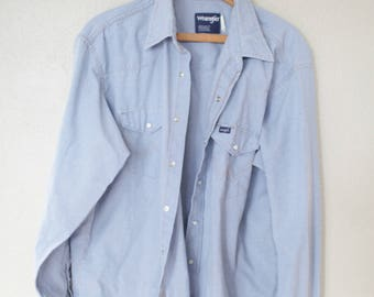 vintage  wrangler 1970's chambray blue pearl snap button up work shirt *