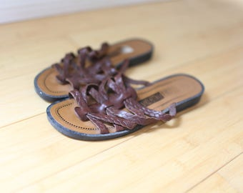 vintage strappy  tbrown leather slip on sandals womens  6