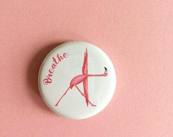 Magnet or pin with pink flamingo doing the triangle yoga pose: trikonasana, Yoga magnet, Flamingo magnet, yoga pin, flamingo pin
