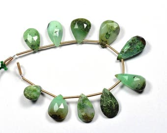 7 Inch Strand-9x12-10x19mm-Natural Chrysoprase Faceted Pear Shape Briolette Beads Strand 10 Beads(2928-29)