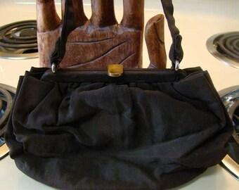 Vintage Graceline black fabric Purse, vintage black purse, Black Graceline  purse, Mid Century Graceline handbag, handbag with coin purse