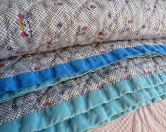 """Whole Cloth Quilt  //  Backing uses Chicken Feed Sacks  //  Blue and White Quilt Multi-Color Binding  //  77"""" By 68 1/2"""""""