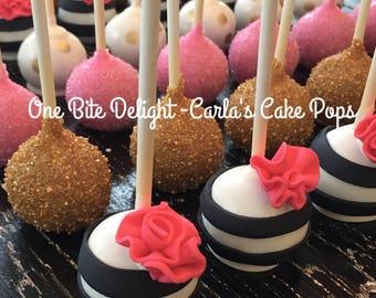 Kate Spade themed Cake Pops, 12 pops, Bridal Shower, Birthday Party, Baby Shower, Wedding