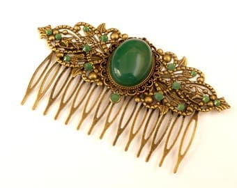 Gemstone hair jewelry with green agate in antique style rhinestone hair jewelry wide hair comb Art Deco gift idea for her