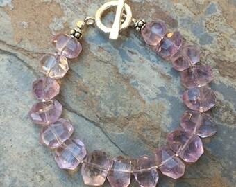 Chunky Amethyst Bracelet, Lavender Amethyst Bracelet, with Sterling Silver, choose your size.