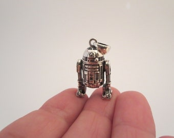 STAR WARS, Pendant Necklace, Heavy, Jewelry, Sterling silver large pendant, 14.4 g, R2D2, Charm bracelet, Miniature figurine, Father's day