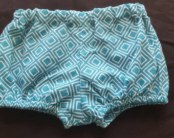 9 to 12 Months Teal Aqua and White Diamond Shapes Diaper Cover Bloomers