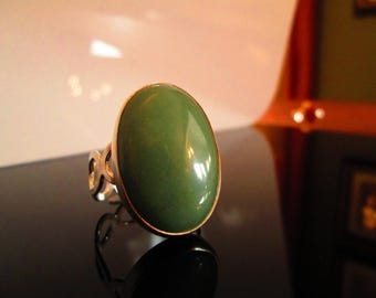 Classically Set  Large 18x25 MM  Oval Aventurine Cabochon Ring With Jump Ring Band