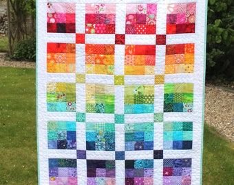 Modern baby quilt - MADE to ORDER and can be personalised - patchwork - rainbow baby quilt - gender neutral, boys, girls - kids quilt