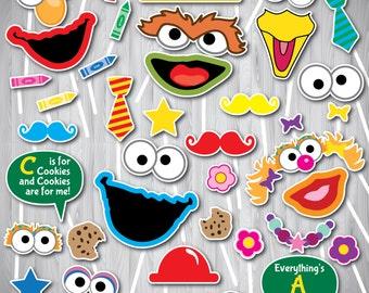 Sesame Street Photo Booth Props,  Sesame Street Party Photo Props Printable, Sesame Street Photo Booth, Elmo, Oscar, Big Bird, Zoey, Cookie