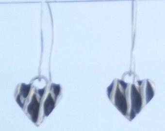 Silver Basket Weave Heart Drop Earrings