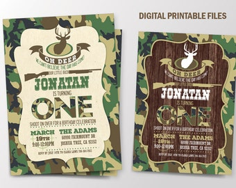 Deer Birthday Invitation, Hunting Birthday Invitation, Deer Hunting Invitation, Deer Invitation, Hunting Party Invitation, Camouflage