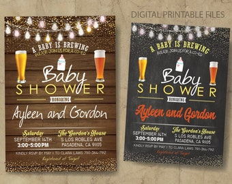 Baby is Brewing Baby Shower, Co-Ed Baby Shower, Beer Baby Shower Invitation, Baby-Q, Baby Shower BBQ, Printable DIY