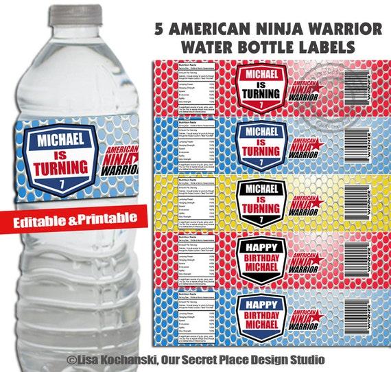 Instant Download Editable Ninja Warrior Water Bottle Labels