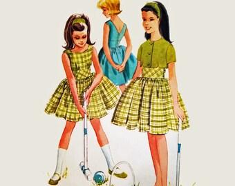 Girls Dress Pattern 1960s Vintage Sewing Patterns for Girls McCalls 6148 SZ 7 Little Girls Sundress & Bolero Sewing Patterns for Children