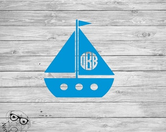 Sailboat Monogram Decal, Sailboat Laptop Decal, Sailboat Decal, Sailboat Cup Decal, Sailboat Mug Decal - You choose size, font, and color